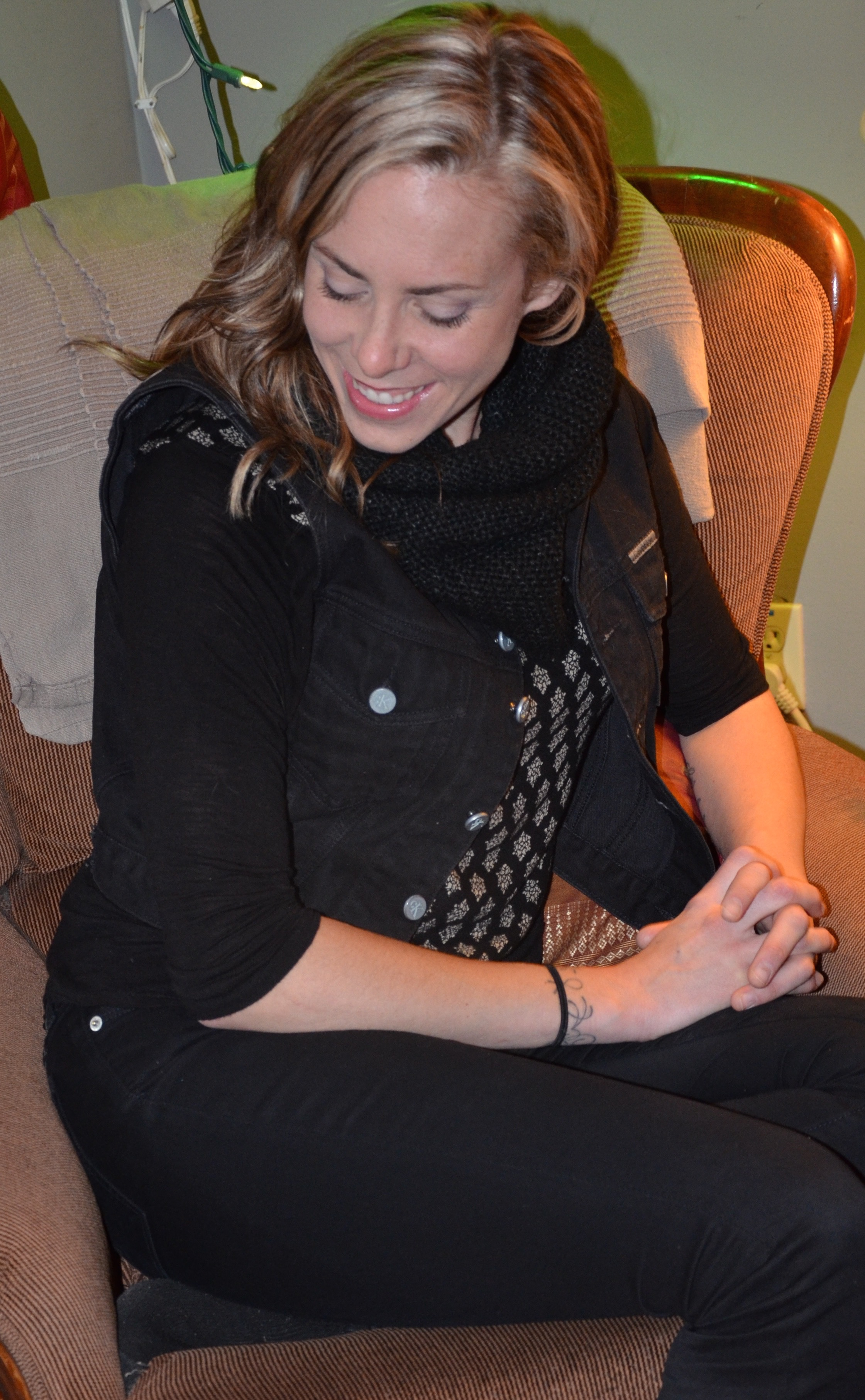 Amanda Rheaume relaxing at her home in Ottawa.